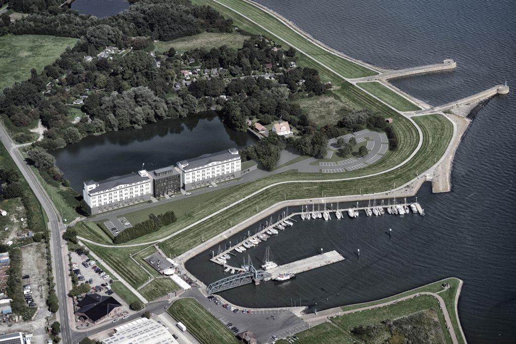 """Die Fotoanimation zeigt, wie das Lifestylehotel """"Das Friesland"""" in den ehemaligen Minenlagerhäusern zwischen Nassauhafen und ehemaliger Zweiter Einfahrt einmal aussehen soll."""