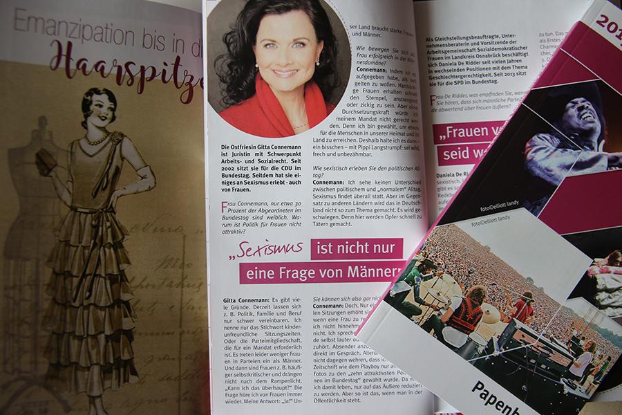 Ein Blick in das Programmmagazin von Papanburg Kultur zeigt die Themenschwerpunkte in der Saison 2019/20: Starke Frauen, Woodstock und jede Menge Theater